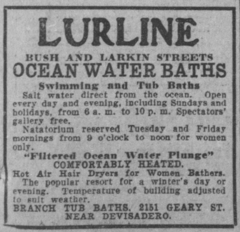 Lurline Baths ad