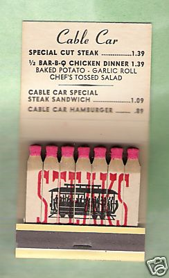 Cable Car restaurant matchbook/2