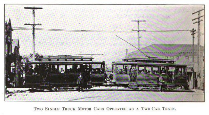 two single truck motor cars operated as a two-car train.