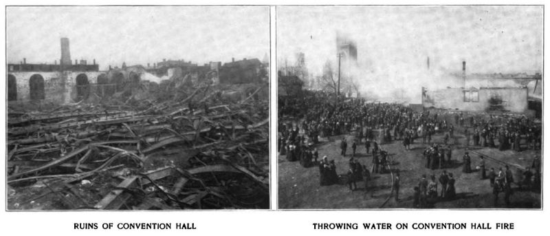 ruins of convention hall/throwing water on convention hall fire
