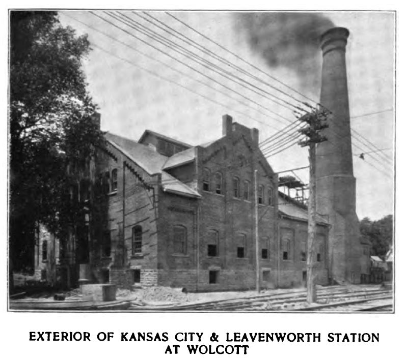 exterior of kansas city and leavenworth station at wolcott
