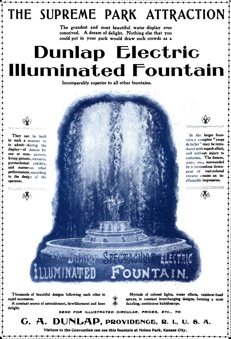 dunlap electric illuminated fountain ad