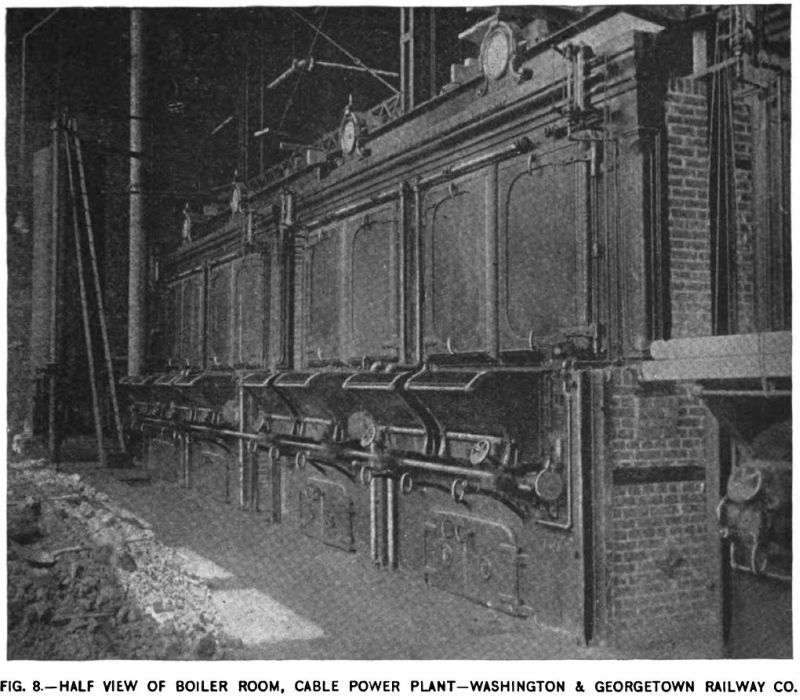Fig. 8 -- Half View of Boiler Room, Cable Power Plant -- Washington & Georgetown Railway Co.