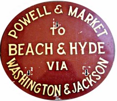 Powell/Hyde round dash sign/1